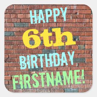 Brick Wall Graffiti Inspired 6th Birthday + Name Square Sticker