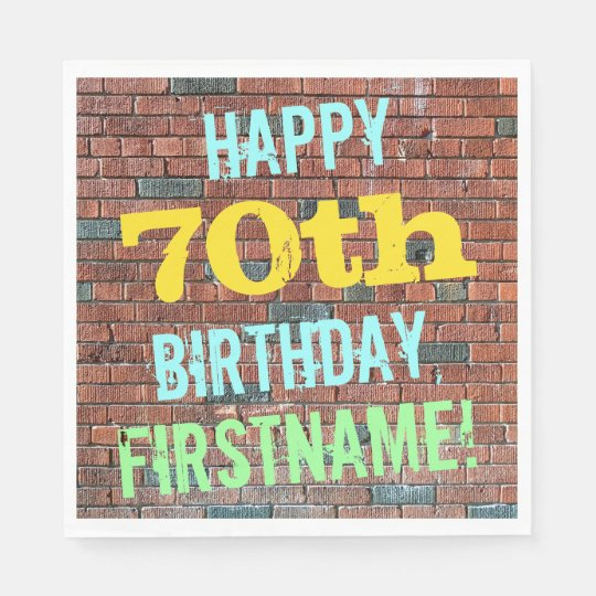 Brick Wall Graffiti Inspired 70th Birthday + Name Paper Napkin