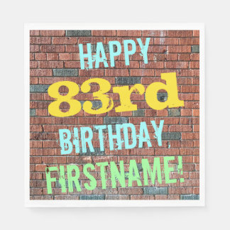 Brick Wall Graffiti Inspired 83rd Birthday + Name Disposable Napkin