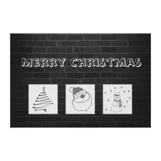 Brick wall grundge fun Christmas patchwork Canvas Print