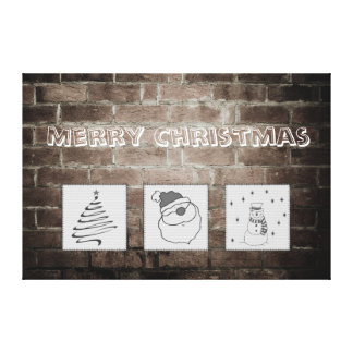 Brick wall grundge fun Christmas patchwork Stretched Canvas Prints