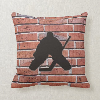 Brick Wall Hockey Goalie Silhouette Cushion