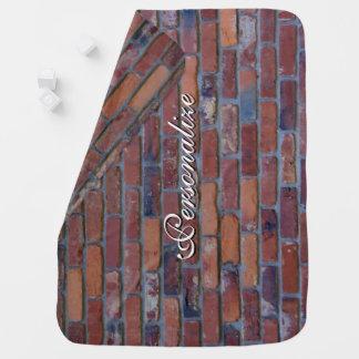 Brick wall - red mixed bricks and mortar baby blanket