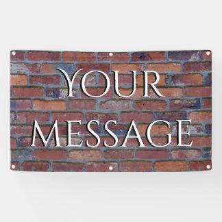 Brick wall - red mixed bricks and mortar banner
