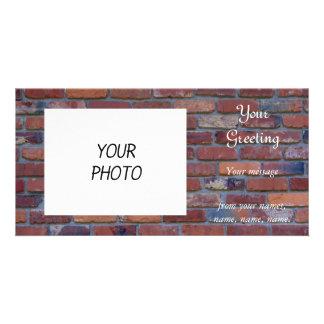 Brick wall - red mixed bricks and mortar card