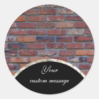 Brick wall - red mixed bricks and mortar classic round sticker