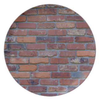 Brick wall - red mixed bricks and mortar dinner plate