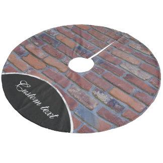 Brick wall - red mixed bricks and mortar fleece tree skirt
