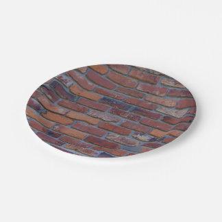 Brick wall - red mixed bricks and mortar paper plate
