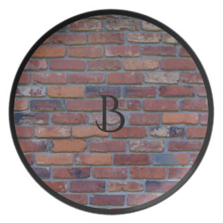 Brick wall - red mixed bricks and mortar party plate