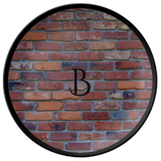 Brick wall - red mixed bricks and mortar plate