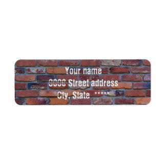 Brick wall - red mixed bricks and mortar return address label