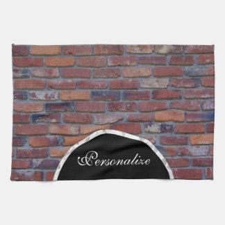 Brick wall - red mixed bricks and mortar tea towel