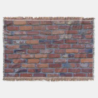 Brick wall - red mixed bricks and mortar throw blanket