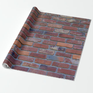 Brick wall - red mixed bricks and mortar wrapping paper