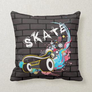 Brick Wall Skate Graffiti Logo With Board Throw Cushions