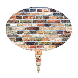 Brick wall with various colors cake toppers