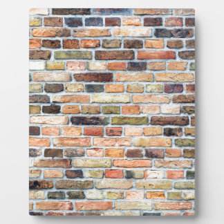 Brick wall with various colors plaques