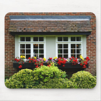 Brick Window Front Flowers and Hedges Mousepad