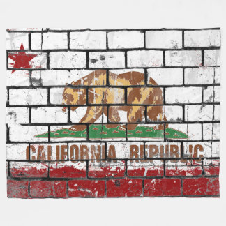 Bricked California Flag Fleece Blanket