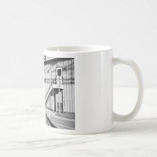bricks, metal and shadows basic white mug
