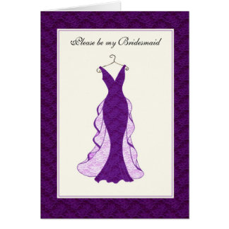 Bridal attendant invitation purple lace