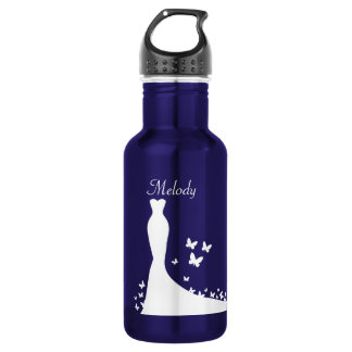 Bridal Blue and White theme Wedding Gown 532 Ml Water Bottle