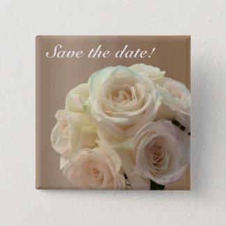 Bridal bouquet in off white 15 cm square badge