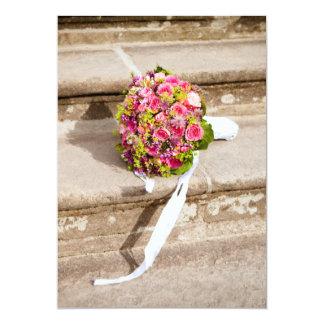 Bridal bouquet on steps wedding invitation