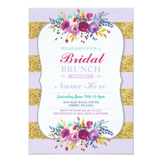 Bridal Brunch Invite Stripe glitter Purple Floral