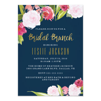 Bridal Brunch Shower Invitation Navy and Gold