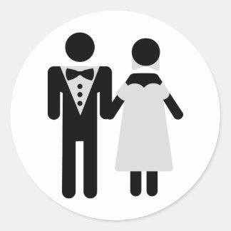 bridal couple icon round sticker