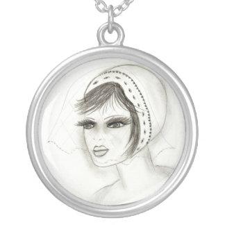 Bridal Deco Girl Round Pendant Necklace