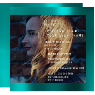 Bridal Foto Graduation Birthday Teal Metallic Card