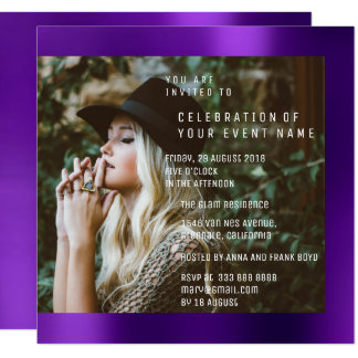 Bridal Foto Graduation Party Purple Plum Metallic Card