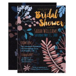 Bridal Invitation | Big Floral Rose Pink & Blue