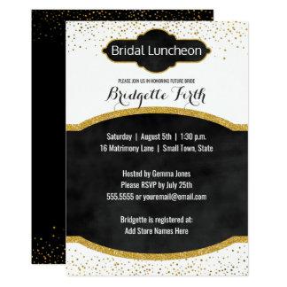 Bridal Luncheon | Black Gold Glitter Bridal Shower Card