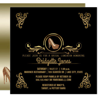 Bridal Luncheon Black Gold | Wedding Bridal Shower Card