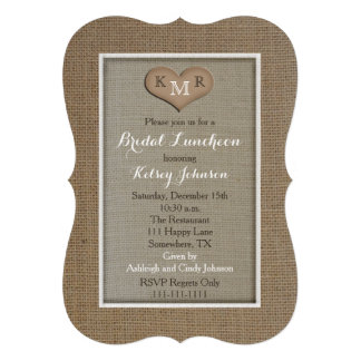Bridal Luncheon Invitations - Burlap Look