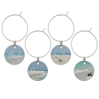 Bridal Party Barbuda Beach Wine Charms