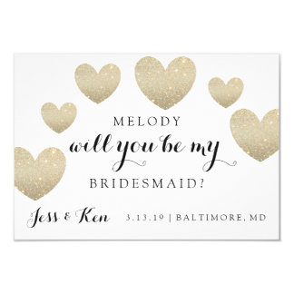 Bridal Party Card - Fab Hearts-will you be my 9 Cm X 13 Cm Invitation Card