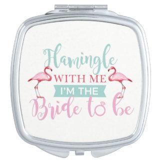 Bridal Party Custom Team Bride Flamingle Mirror Travel Mirror