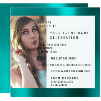 Bridal Party Foto Geometry Teal Aquatic Metallic Card