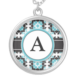 Bridal Party Gift - Monogram Pendant aqua