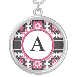 Bridal Party Gift - Monogram Pendant fuchsia