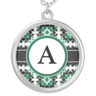 Bridal Party Gift - Monogram Pendant (green)