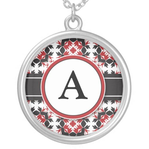 Bridal Party Gift - Monogram Pendant (red)