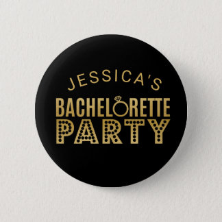 Bridal Party Gold Bachelorette Party Badges Pin