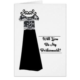 bridal party invitation black dress card