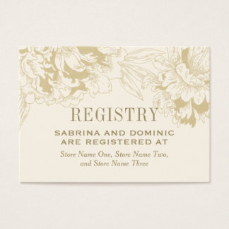 Bridal Registry Card | Ivory Gold Peony